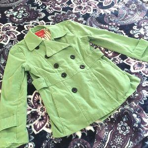 Green Cotton Pea Coat